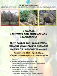 Ενημερωτική συνάντηση απο τη ΔΑΟΚ Π.Ε. Αιτωλοακαρνανίας με θέμα : Ξυλέλλα- Τριστέτσα των Εσπεριδοειδών-Γλοιοσπόριο. Τρεις εχθροί των καλλιεργειών, μεγάλης οικονομικής σημασίας για την Π.Ε. Αιτωλοακαρνανίας