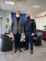 Συνάντηση του Περιφερειάρχη, Ν. Φαρμάκη με τον Αστυνομικό Διευθυντή Αχαΐας, Ταξίαρχο, Ι. Κυριακόπουλο
