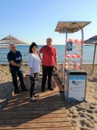 Εγκατάσταση Seatrac στην παραλία Τουρλίδας Μεσολογγίου, παρουσία της Αντιπεριφερειάρχη Μαρίας Σαλμά